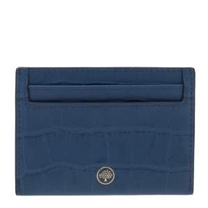 Mulberry Blue Croc Embossed Leather Card Holder