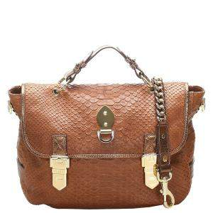 Mulberry Brown Embossed Leather Tillie Satchel