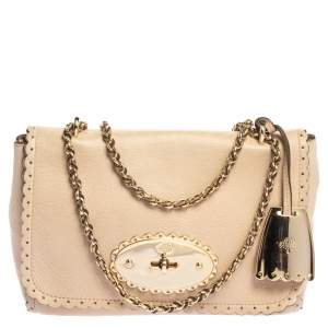 Mulberry Beige Leather Small Lily Shoulder Bag