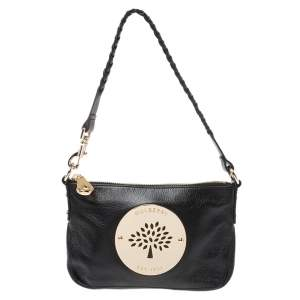 Mulberry Black Leather Daria Wristlet Clutch