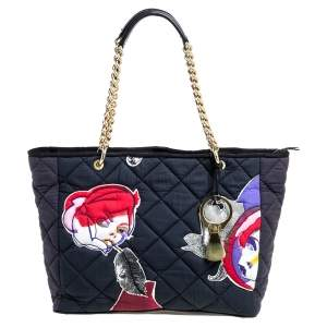 Mulberry Multicolor Quilted Printed Fabric and Leather Chain Tote