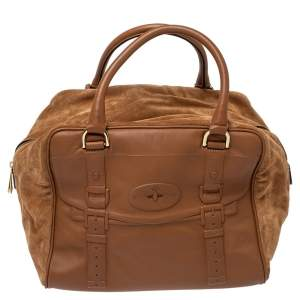 Mulberry Brown Leather and Suede Maisie Clipper Satchel