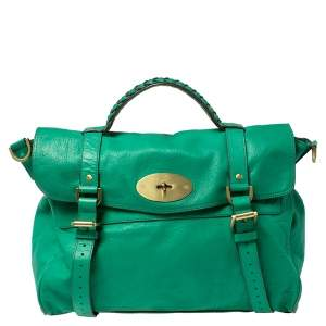 Mulberry Green Leather Oversized Alexa Satchel