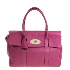 Mulberry Fuschia Grained Leather Bayswater Satchel