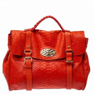 Mulberry Orange Python Embossed Leather Oversized Alexa Satchel