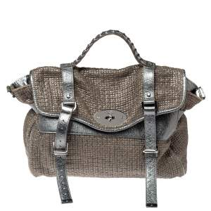 Mulberry Metallic Woven Fabric and Leather Alexa Top Handle Bag