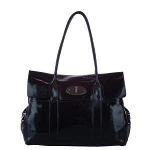 Mulberry Black Patent Leather Bayswater Satchel Bag