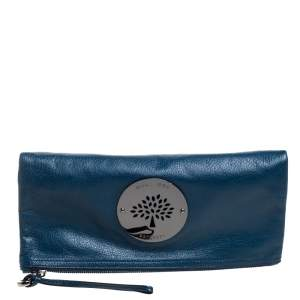Mulberry Dark Teal Leather Daria Fold Over Clutch