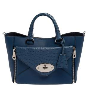 Mulberry Blue Leather And Ostrich Willow Tote