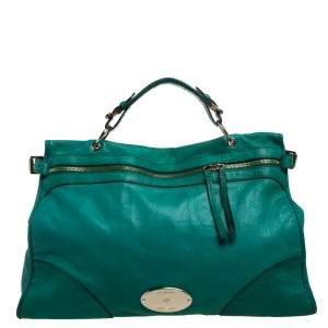 Mulberry Green Leather Taylor Top Handle Bag