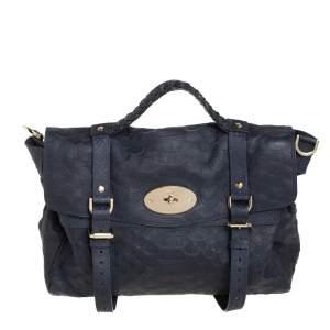 Mulberry Navy Blue Python Embossed Leather Oversized Alexa Satchel