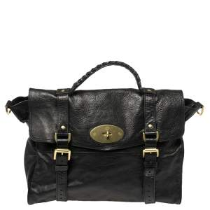 Mulberry Black Leather Oversized Alexa Satchel