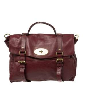 Mulberry Dark Red Leather Oversized Alexa Satchel