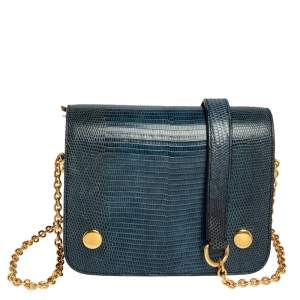 Mulberry Blue/Black Lizard Embossed Leather Clifton Crossbody Bag