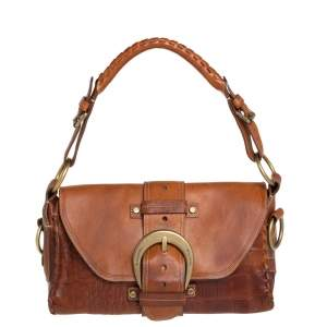 Mulberry Brown Leather Buckle Flap Top Handle Bag