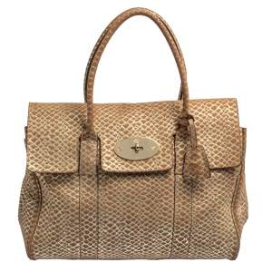 Mulberry Brown/Gold Snakeskin Effect Suede Bayswater Satchel