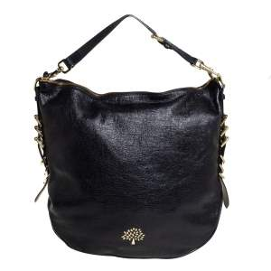 Mulberry Black Textured Leather Mila Hobo
