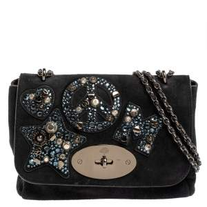 Mulberry Midnight Blue Suede Small Lily Embellished Shoulder Bag