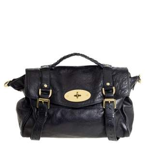 Mulberry Black Leather Alexa Satchel
