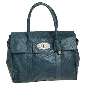 Mulberry Dark Green Python Effect Leather Bayswater Satchel