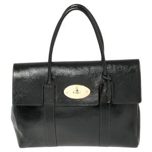 Mulberry Anthracite Patent Leather Bayswater Satchel