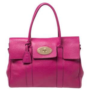 Mulberry Anthracite Pink Leather Bayswater Satchel