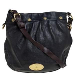 Mulberry Black/Brown Pebbled Leather Medium Mitzy Messenger Bag