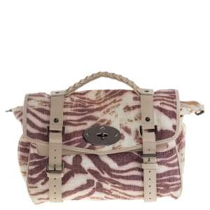 Mulberry Multicolor Tiger Print Woven Raffia And Leather Alexa Satchel