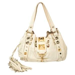 Mulberry Beige Leather Studded Giles Drawstring Bag