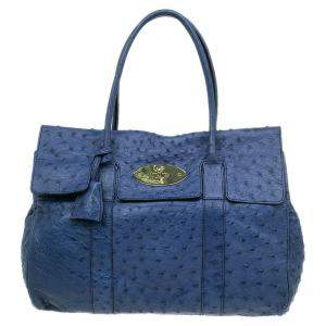 حقيبة مالبري بايز ووتر جلد نعام أزرق