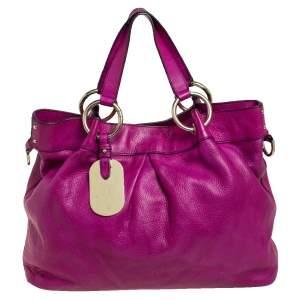 Mulberry Magenta Leather Metal Plate Charm Shoulder Bag