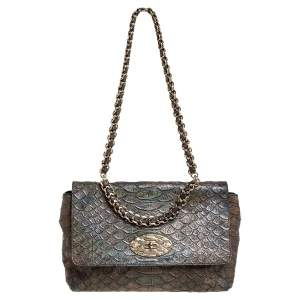 Mulberry Green Iridescent Python Embossed Leather Lily Chain Shoulder Bag