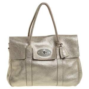 Mulberry Metallic Gold Crinkle Leather Bayswater Satchel