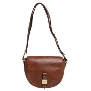 Mulberry Brown Leather Flap Shoulder Bag