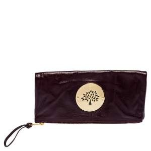 Mulberry Burgundy Leather Daria Fold Over Clutch