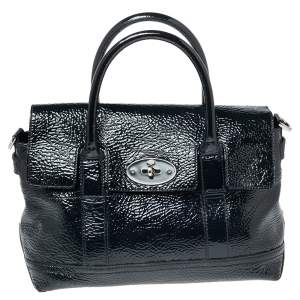 Mulberry Navy Blue Wrinkled Patent Leather Small Bayswater Satchel