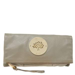 Mulberry Grey Leather Daria Fold-Over Clutch