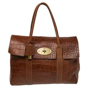 Mulberry Brown Croc Embossed Leather Bayswater Satchel