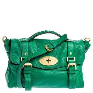 Mulberry Green Leather Small Alexa Satchel