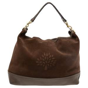 Mulberry Brown Suede and Leather Logo Embossed Hobo