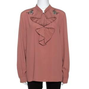 N°21 Pink Silk Blend Embellished Frill Shirt M
