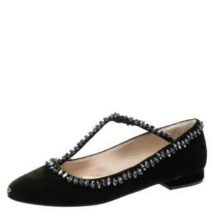 N°21 Green Velvet Crystal Embellished T-Bar Ballet Flats Size 38