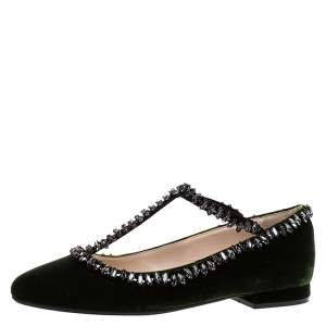 N21 Dark Green Velvet Crystal Embellished T-Bar Ballet Flats Size 36