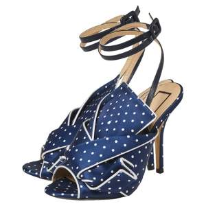 N21 Blue/White Knotted Polka Dot Fabric Gingham Ankle Wrap Peep Toe Sandals Size 36
