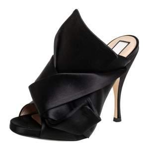 N21 Black Satin Raso Knot Peep Toe Mules Size 36.5