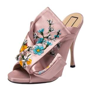 N°21 Floral Embroidered Satin Knot Mules Size 40