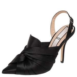 N21 Black Satin Knot Slingback Sandals Size 38