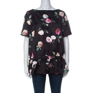 N21 Black Floral Printed Silk Short Sleeve Peplum Top M