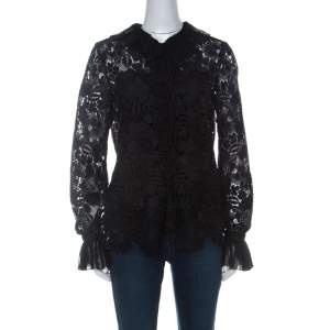 N21 Black Guipure Lace Pleated Ruffle Detail Long Sleeve Top S