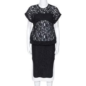 N21 Black Lace Contrast Hem Detail Dropped Waist Dress M